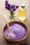 Spa set with fresh lavender Stock Photo