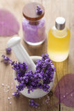 Spa set with fresh lavender Stock Image