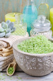 Spa set: green sea salt, scented candles, liquid soap and essent Royalty Free Stock Images