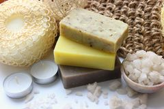 Spa set, handmade soap close-up. The interior of the Spa, sauna, bathroom. royalty free stock image
