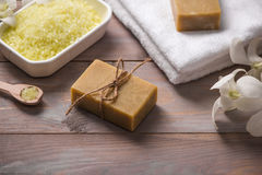 Spa set. Handmade, natural organic soap and white orchid on a wo Stock Images