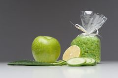 Spa set including apple, salt, aloe, cucumber Royalty Free Stock Photo