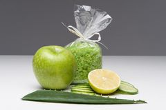 Spa set including apple, salt, aloe, cucumber Royalty Free Stock Photos