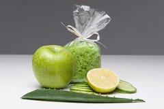 Spa set including apple, salt, aloe, cucumber Royalty Free Stock Photos