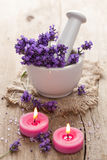 Spa set with lavender flowers Stock Photos