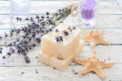 Spa set with lavender, handmade soap,sea salt and seastars Royalty Free Stock Images