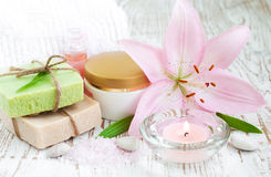 Spa set with lily Stock Photos