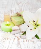 Spa set with lily Royalty Free Stock Photos