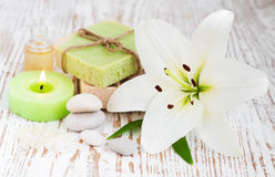 Spa set with lily Royalty Free Stock Image