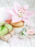 Spa set with lily Royalty Free Stock Photography