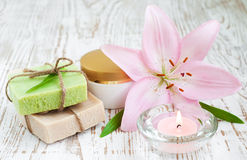 Spa set with lily Stock Image