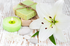 Spa set with lily Stock Photography