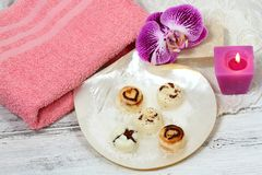 Spa set massage with sugar scrub bars on the shell Royalty Free Stock Photography