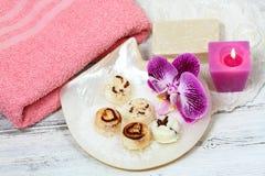 Spa set massage with sugar scrub bars on the shell Stock Photos