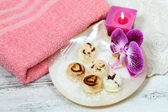 Spa set massage with sugar scrub bars on the shell Royalty Free Stock Photos