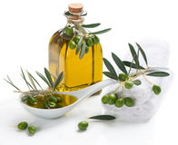 Spa set with olive oil an twig Royalty Free Stock Image