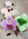 Spa set with orchids Stock Photography