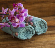 Spa set with orchids and towels Stock Image