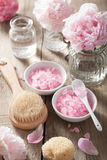Spa set with peony flowers and pink herbal salt Stock Image