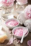 Spa set with peony flowers and pink herbal salt Royalty Free Stock Images