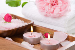 Spa set with pink rose and bath salt Royalty Free Stock Image