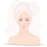 Spa set: Pretty woman in spa salon Stock Photo