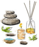 Spa  set. Rock Salt Essential Oil Jacuzzi Hand draw  illustration Stock Photos