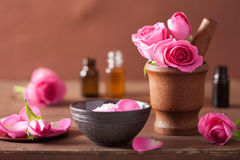Spa set with rose flowers mortar and salt Royalty Free Stock Photography
