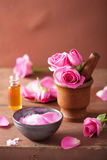 Spa set with rose flowers mortar and salt Royalty Free Stock Photos