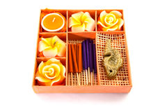 Spa Set. Roses Shaped Candles, incense sticks in orange box Stock Photography