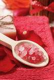 Spa set: scented candle, sea salt, liquid soap Royalty Free Stock Image