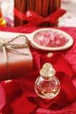 Spa set: scented candle, sea salt, liquid soap Stock Photo