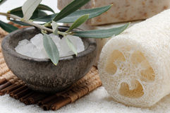 Spa set with sea salt. Spa collection, natural sponge, sea salt and olive soap Royalty Free Stock Photography