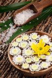 Spa set with sea salt and flowers Stock Photo