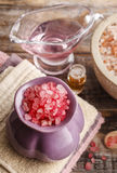 Spa set: sea salts, essential oil, towels Royalty Free Stock Images