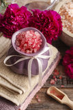 Spa set: sea salts, essential oil, towels Royalty Free Stock Image