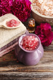 Spa set: sea salts, essential oil, towels Stock Photo