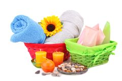 Spa set. With towels, creams, lotions, candles, stones and flower isolated on white background Stock Photo