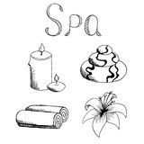 Spa set stone candle towel lily graphic art black white illustration Royalty Free Stock Photography