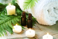Spa Set of Towel, Candles and Oil Stock Images