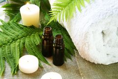 Spa Set of Towel, Candles and Oil. Spa Set of Towel, Candles and Aroma Oil Stock Image