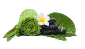 Spa set with towel and flower for therapy. Spa set with towel and flower for wellness therapy stock photos