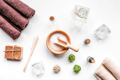 Spa set with towels and soap on white background top view Stock Photography