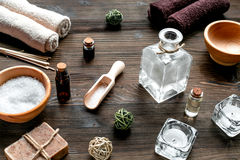 Spa set with towels and soap on wooden background Stock Photos