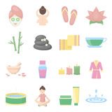 Spa set vector icons. Collection of beauty, makeup, massage icons. Stock Images