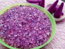 Spa set violet salts and incense Royalty Free Stock Photos
