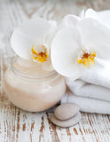 Spa set with white orchids Stock Photo