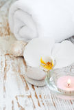 Spa set with white orchids Stock Photography