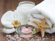 Spa set with white orchids Stock Image
