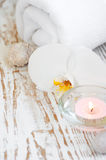 Spa set with white orchids Royalty Free Stock Photography